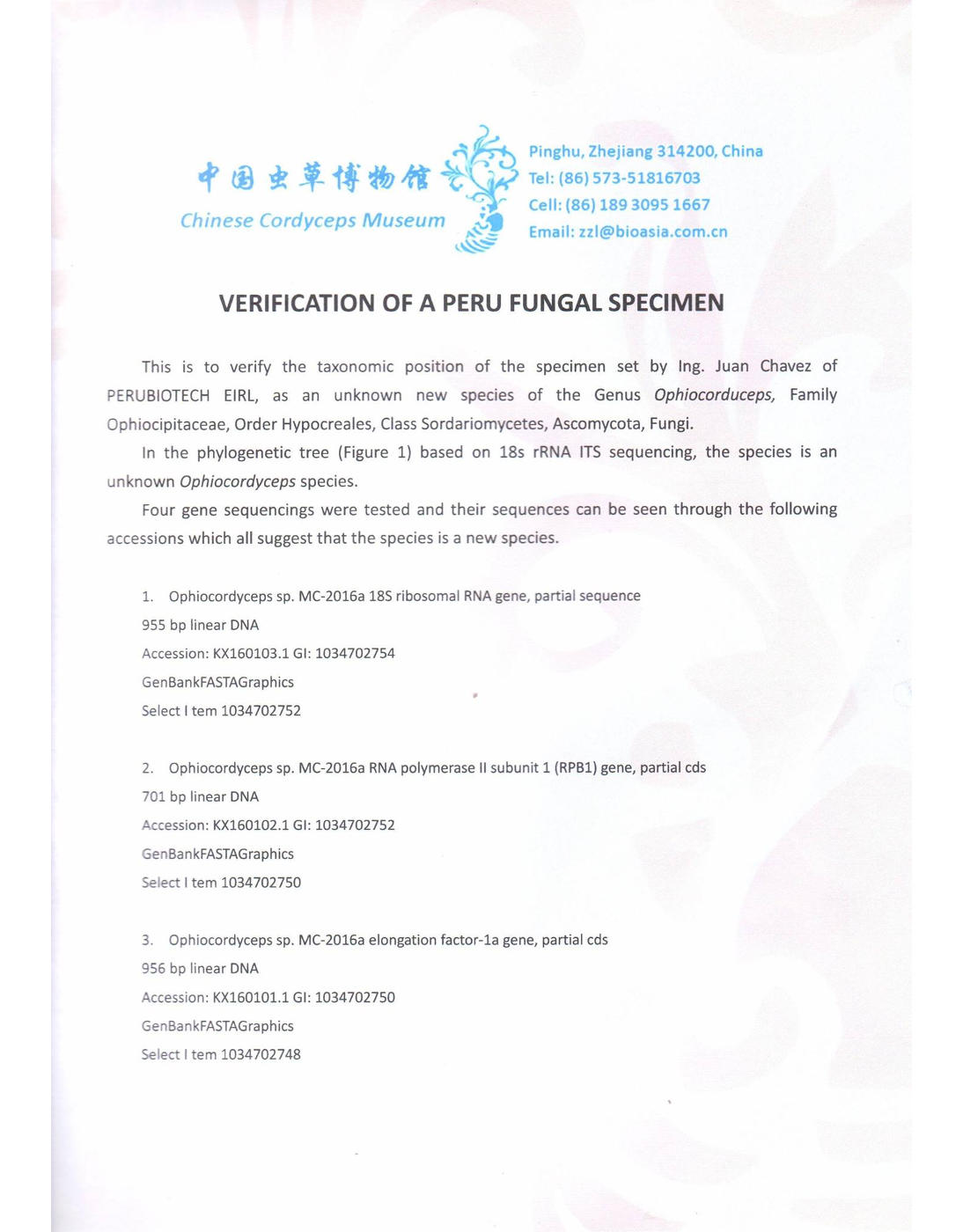 Verification of a Perú Fungal Specimen (page 1)